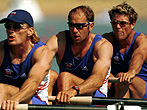 17 Sep 2000: Tim Foster, Steven Redgrave and James Cracknell of Great Britain in the Men's coxless four qualifying round first heat during the Sydney 2000 Olympic Games at the Sydney International Regatta Centre, Sydney, Australia. Mandatory Credit: StuForster/ALLSPORT