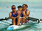 21 Sep 2000: Matthew Pinsent, Tim Foster, Steven Redgrave and James Cracknell of Great Britain on their way to victory in the mens coxless four semifinal during the Sydney 2000 Olympic Games at the Sydney International Regatta Centre, Sydney, Australia.Mandatory Credit: Ross Kinnaird/ALLSPORT