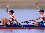23 Sep 2000: Jana Thieme and Kathrin Boron of Germany win gold in the Womens Double Sculls Rowing Final at the Sydney International Regatta Centre on Day Eight of the Sydney 2000 Olympic Games in Sydney, Australia. Mandatory Credit: Shaun Botterill /Allsport