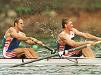 25 Jul 1996: Steven Redgrave and Matthew Pinsent of Great Britain row to victory in the semifinal round of the men''s coxless pairs rowing at Lake Lanier in Gainesville, Georgia at the 1996 Centennial Olympic Games in Atlanta, Georgia.