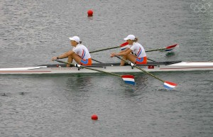 BEIJING - AUGUST 17: Kirsten van der Kolk and Marit van Eupen of the Netherlands celebrate the gold medal in the Lightweight Women's Double Sculls Final at the Shunyi Olympic Rowing-Canoeing Park during Day 9 of the Beijing 2008 Olympic Games on August 17, 2008 in Beijing, China. (Photo by Jamie Squire/Getty Images)